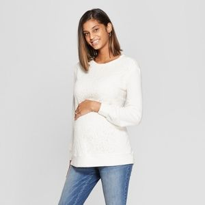Isabel Maternity by Ingrid & Isabel Sweaters - Fleece Lace Front Sweatshirt Isabel Maternity XS